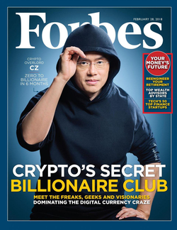 Changpeng Zhao on the cover of the February 2018 issue of Forbes [5]​