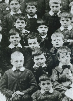Seven-year-old Chaplin (centre) at the Central London District School for paupers, 1897