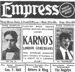 Advertisement from Chaplin's American tour with the Fred Karno comedy company, 1913