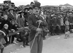 The Tramp debuts in Kid Auto Races at Venice (1914), Chaplin's second released film