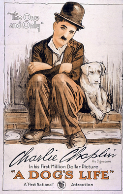"A Dog's Life (1918). It was around this time that Chaplin began to conceive the Tramp as ""a sort of Pierrot"", or sad clown."