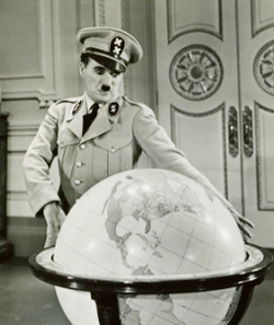 Chaplin satirising Adolf Hitler in The Great Dictator (1940)