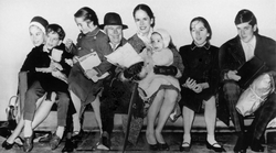 Chaplin with his wife Oona and six of their children in 1961
