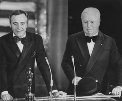 Chaplin (right) receiving his Honorary Academy Award from Jack Lemmon in 1972. It was the first time he had been to the United States in 20 years.