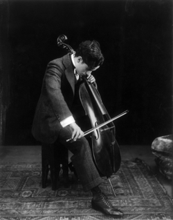 Chaplin playing the cello in 1915