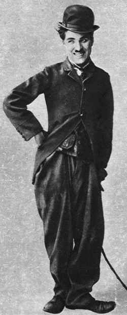 "Chaplin as the Tramp in 1915, cinema's ""most universal icon"""
