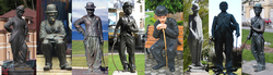 Statues of Chaplin around the world, located at (left to right) 1. Teplice, Czech Republic; 2. Chełmża, Poland; 3. Waterville, Ireland; 4. London, United Kingdom; 5. Hyderabad, India; 6. Alassio, Italy; 7. Barcelona, Spain; 8. Vevey, Switzerland