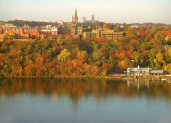 Georgetown University's main campus is built on a rise above the                                 Potomac River                                .