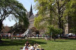 Students celebrate Georgetown Day in late spring with a campus carnival.