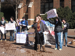 H*yas for Choice protest outside the                                 Intercultural Center                                in Red Square, which is often used for campus activism.