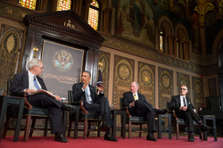 Gaston Hall                                is a venue for many events, such as speeches from U.S. President                                 Barack Obama                                .