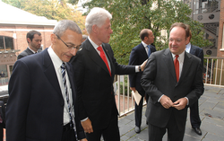 John J. DeGioia                                meets on campus with U.S. President                                 Bill Clinton                                , SFS graduate from 1968, and his White House Chief of Staff                                 John Podesta                                , Law Center graduate from 1976.
