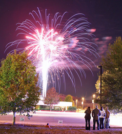 Clemson fans view a firework display after the conclusion of Tigerama.