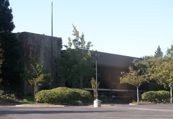 The main entrance of the HP headquarters building
