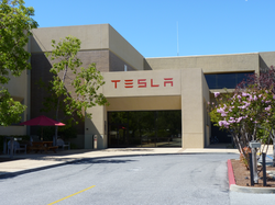 The main entrance to the Tesla Motors headquarters