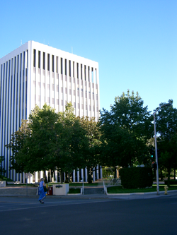 Palo Alto City Hall, as seen in 2004.