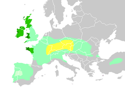 Diachronic distribution of Celtic peoples, showing expansion of the core territory into the Czech lands by the 270s BC