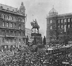 Czechoslovak declaration of independence rally in Prague on Wenceslas Square, 28 October 1918