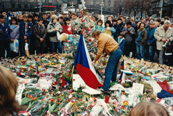 Václav Havel, the main figure of the Velvet Revolution and later 1st Czech president honoring wounded in protests.