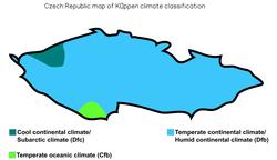 Czech Republic map of Köppen climate classification.