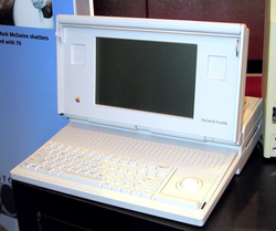 The                                 Macintosh Portable                                , released in 1989, was Apple's first battery-powered portable Macintosh personal computer.