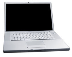 The                                 MacBook Pro                                , Apple's first laptop with an                                 Intel                                microprocessor, introduced in January 2006.