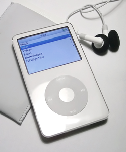 A fifth generation                                 iPod                                , one of                                 Jonathan Ive                                's most recognized industrial designs. iPod has been phenomenally successful with over 390 million units sold worldwide.                                                   [12]