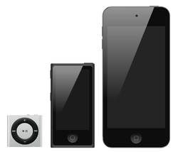 iPod line as of 2014                                                   [update]                                                 . From left to right:                                 iPod Shuffle                                ,                                 iPod Nano                                ,                                 iPod Touch                                .