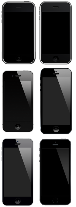 The                                 first-generation iPhone                                ,                                 3G                                ,                                 4                                ,                                 5                                ,                                 5C                                and                                 5S                                to scale.