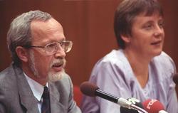 Merkel and                                 Lothar de Maizière                                , 1990