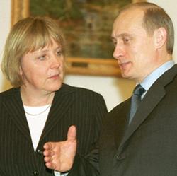 Merkel with                                 Vladimir Putin                                , 2002