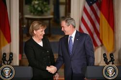 Merkel with President                                 George W. Bush                                , 2007