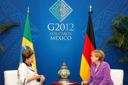 Angela Merkel meets with Brazilian President                                 Dilma Rousseff                                at the                                 G-20                                summit in Mexico, 2012
