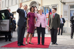 Barack Obama                                ,                                 Michelle Obama                                , Merkel, and her husband,                                 Joachim Sauer                                , 2009