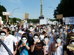 Protestors rally against                                 NSA                                's mass surveillance, Berlin, June 2013