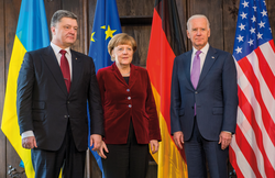 Merkel with                                 Petro Poroshenko                                and                                 Joe Biden                                , 7 February 2015