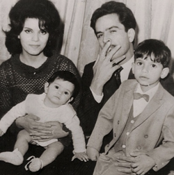With her husband Mansour Moghadam and two children Michael Mocadam and Mojgan Moghadam-Rahbar .
