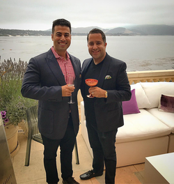 Antik Bose enjoying a cocktail with a friend at the Rolls-Royce Party 2017 at the Rolls-Royce Villa in Pebble Beach.