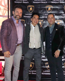 Antik Bose with friends at the Lamborghini Urus launch event at Lamborghini Newport Beach.