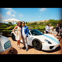 Antik Bose hosting a Private Exhibition of his Super Cars at the Pelican Hill. The Porsche 918 Spyder and Koenigsegg Agera R are visible in the backdrop.