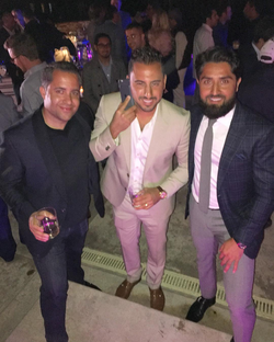 Antik Bose attending a party with Million Dollar Listing San Francisco's host Roh Habibi and Million Dollar Listing LA's host Josh Altman.