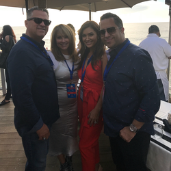 Antik Bose supporting CASA of Orange County at Sip & Shuck event 2017 with Modern Luxury Magazine's Editor Tina Borgatta at The Deck on Laguna Beach.