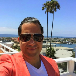 Antik Bose at the terrace of his Malibu mansion