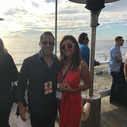 Antik Bose attending CASA of Orange County's Sip & Shuck event 2017 at The Deck on Laguna Beach.