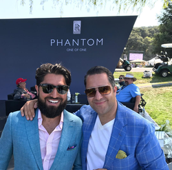Antik Bose checking out the new Rolls-Royce Phantom with Roh Habibi at the Pebble Beach Concours d'Elegance 2017