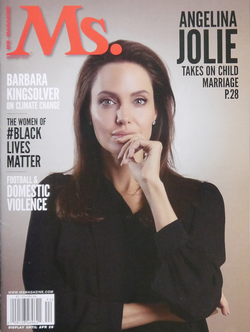 Jolie on the cover of Ms., in 2015, in which she discusses child marriage