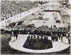 The opening ceremony in the                                 Panathinaiko Stadium                                .