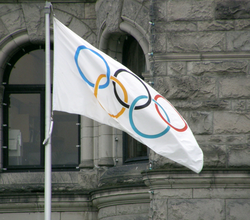 The                                 Olympic flag                                .