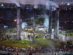 A scene from the opening ceremony of the                                 2012 Summer Olympics                                in                                 London                                .