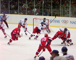 Professional                                 NHL                                players were allowed to participate in                                 ice hockey                                starting in 1998 (                                 1998 Gold medal game between Russia and the Czech Republic pictured                                ).